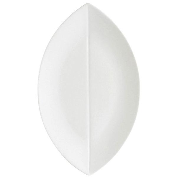 "CAC COL-V13 11 1/2"" x 6 3/4"" Bone White Flat Leaf China Serving Platter - 12/Case"