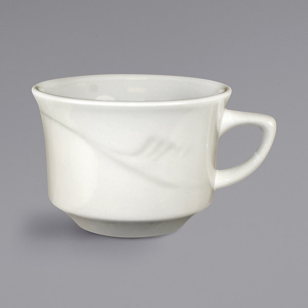 International Tableware NP-23 Newport 8 oz. Ivory (American White) Embossed Stoneware Low Cup - 36/Case Main Image 1