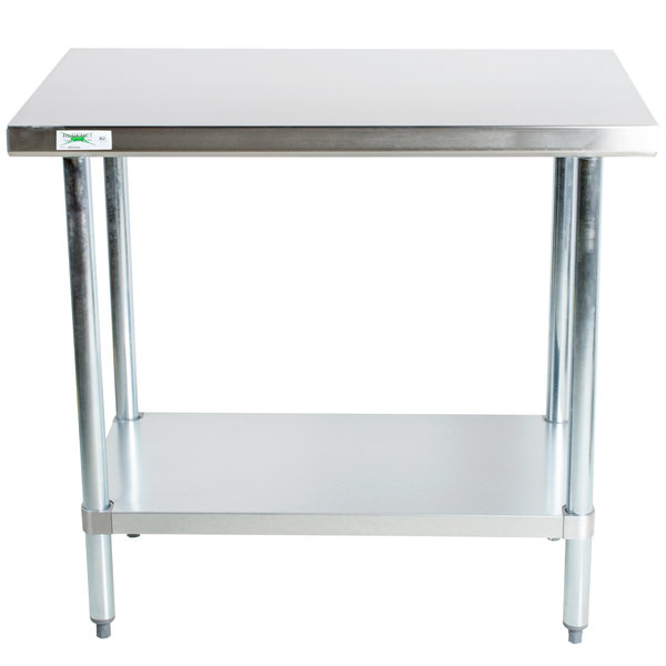 """Regency 30"""" x 36"""" 18-Gauge 304 Stainless Steel Commercial Work Table with Galvanized Legs and Undershelf"""