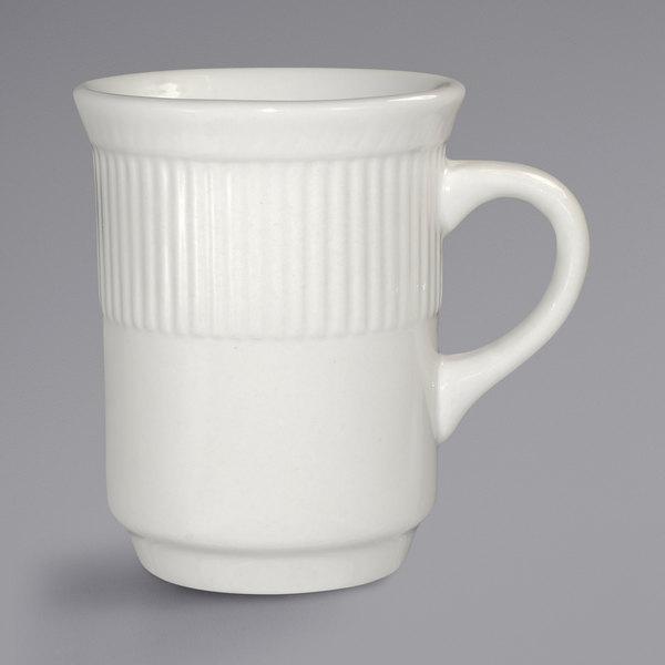 International Tableware AT-17 Athena 8.5 oz. Ivory (American White) Embossed Stoneware Toledo Mug - 36/Case