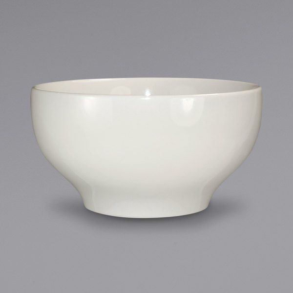 International Tableware RO-44 Roma 48 oz. Ivory (American White) Rolled Edge Stoneware Footed Noodle / Salad Bowl - 12/Case