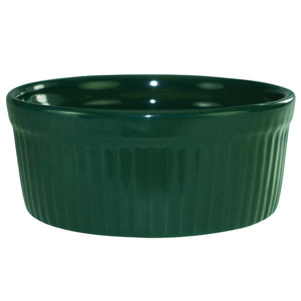 International Tableware RAMF-8-G Cancun 6 oz. Green Stoneware Fluted Souffle / Ramekin - 36/Case Main Image 1