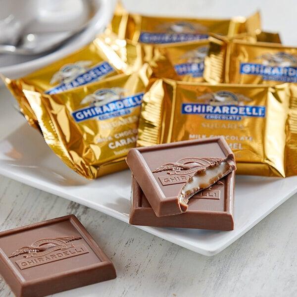 Ghirardelli Individually-Wrapped Milk Chocolate Caramel Squares - 430/Case Main Image 2