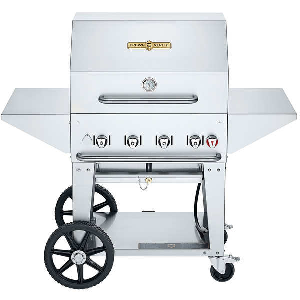 """Crown Verity MCB-30PRO Professional Series Liquid Propane 30"""" Mobile Outdoor Grill with Accessory Package Main Image 1"""