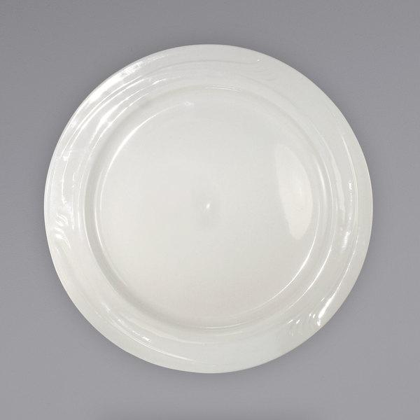 "International Tableware NP-8 Newport 9"" Ivory (American White) Embossed Stoneware Plate - 24/Case Main Image 1"