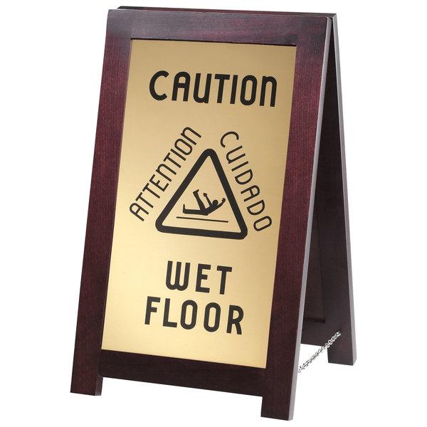 Cal-Mil 851-WET 2-Sided Wooden WET FLOOR Sign