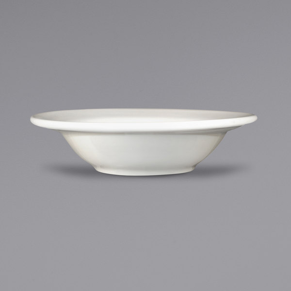 International Tableware NP-11 Newport 5 oz. Ivory (American White) Embossed Stoneware Fruit Bowl - 36/Case Main Image 1