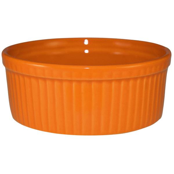 International Tableware RAMF-8-O Cancun 6 oz. Orange Stoneware Fluted Souffle / Ramekin - 36/Case Main Image 1