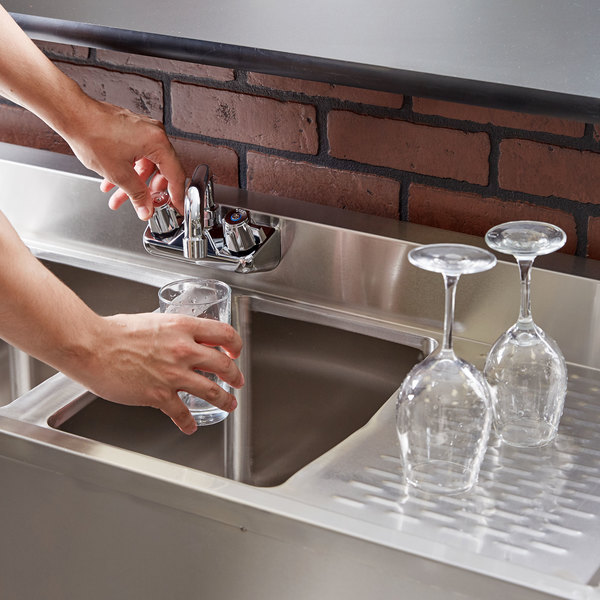 """Regency 2 Bowl Underbar Sink with Faucet and Two Drainboards - 48"""" x 18 3/4"""""""