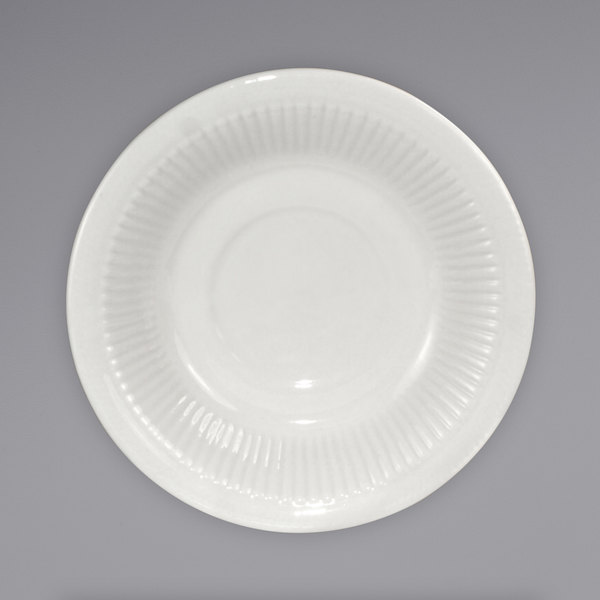 International Tableware AT-2 Athena 5 1/2 inch Ivory (American White) Embossed Stoneware Saucer - 36/Case