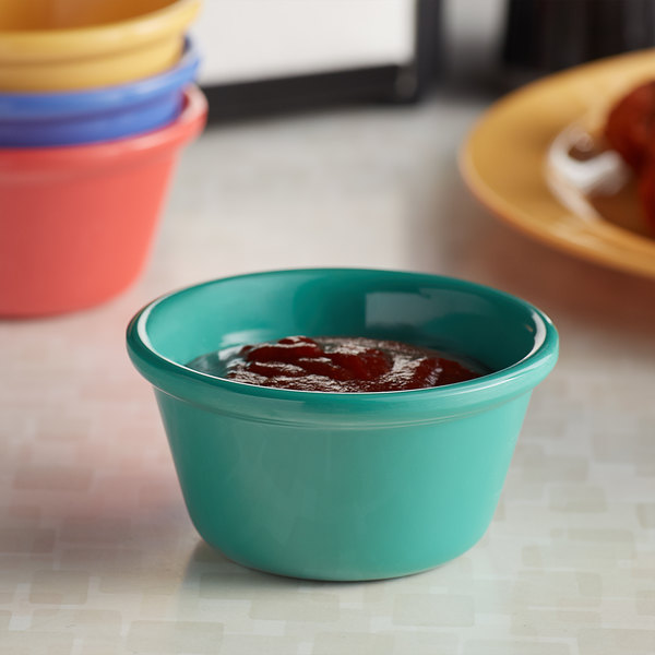 Elite Global Solutions B3134sm Mix Brazil 4 Oz Assorted Colors Smooth Melamine Ramekin 12 Case