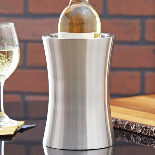 "American Metalcraft HGWC1 8"" Stainless Steel Double Wall Hourglass Shape Wine Cooler"