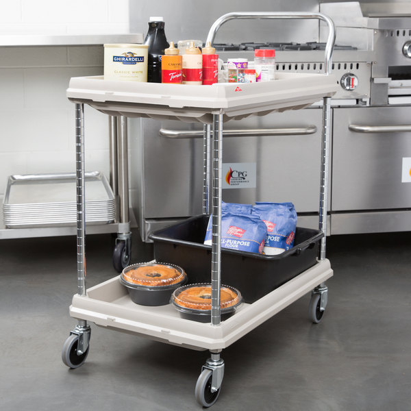 Metro BC2030 2DG Gray Utility Cart With Two Deep Ledge Shelves 32 3/4