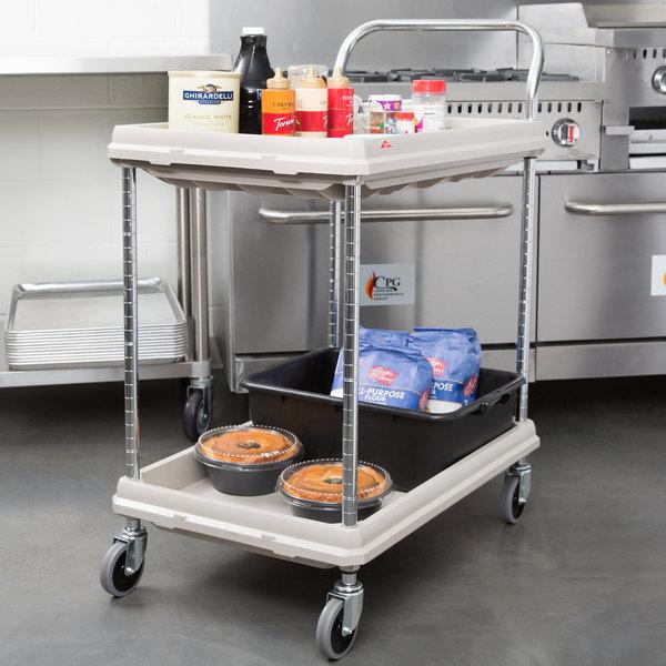 "Metro BC2030-2DG Gray Utility Cart with Two Deep Ledge Shelves 32 3/4"" x 21 1/2"" Main Image 2"