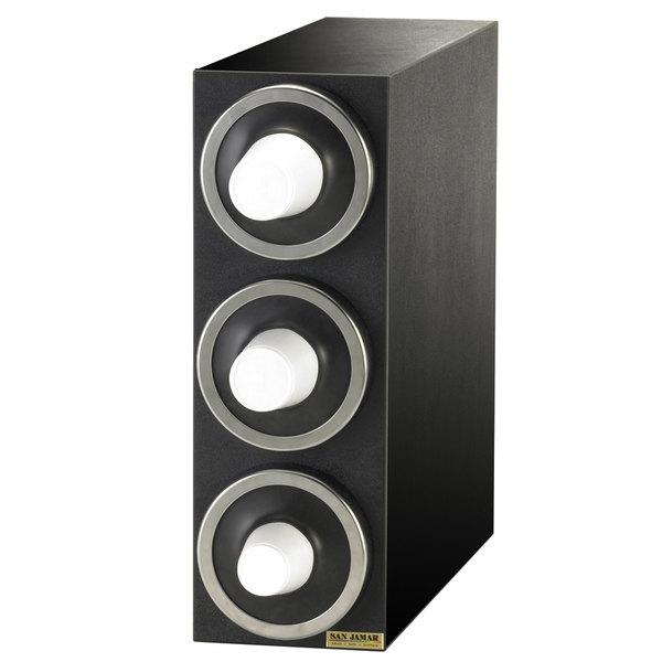 San Jamar C2903 EZ-Fit Black 3-Slot Vertical 8 - 46 oz. Countertop Cup Dispenser Cabinet with Metal Trim Ring Main Image 1