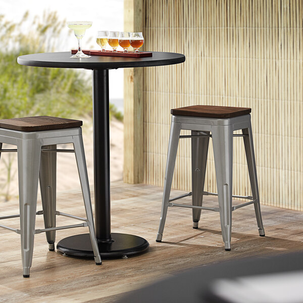 Lancaster Table & Seating Alloy Series Silver Metal Indoor Industrial Cafe Counter Height Stool with Walnut Wood Seat Main Image 3