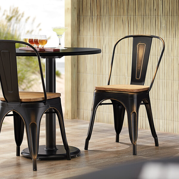 Lancaster Table & Seating Alloy Series Distressed Copper Metal Indoor Industrial Cafe Chair with Vertical Slat Back and Natural Wood Seat Main Image 4