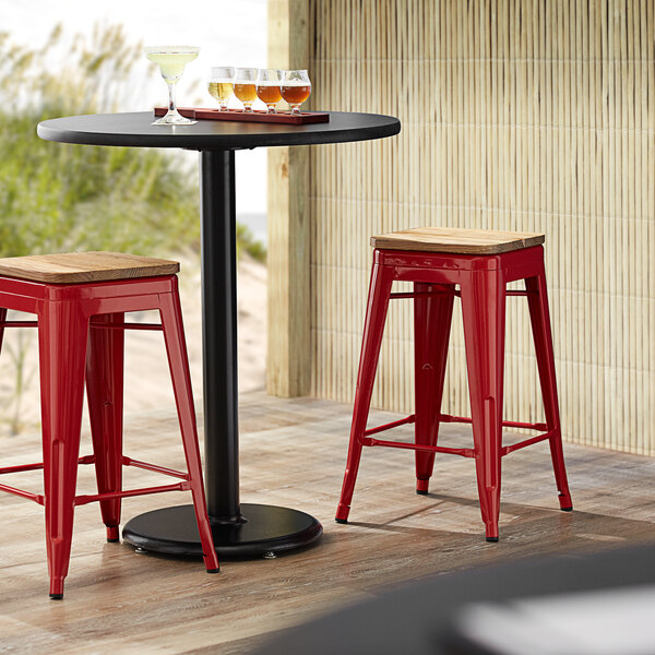 Lancaster Table & Seating Alloy Series Red Metal Indoor Industrial Cafe Counter Height Stool with Natural Wood Seat Main Image 3