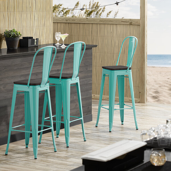 Lancaster Table & Seating Alloy Series Seafoam Metal Indoor Industrial Cafe Bar Height Stool with Vertical Slat Back and Black Wood Seat Main Image 4