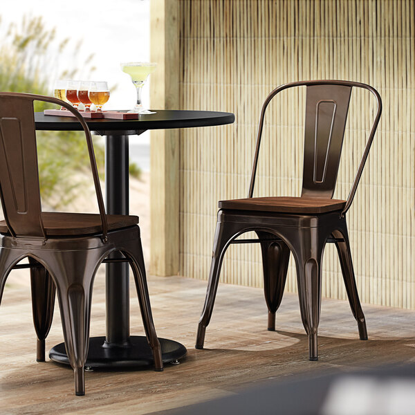 Lancaster Table & Seating Alloy Series Copper Metal Indoor Industrial Cafe Chair with Vertical Slat Back and Walnut Wood Seat Main Image 4