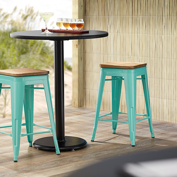 Lancaster Table & Seating Alloy Series Seafoam Metal Indoor Industrial Cafe Counter Height Stool with Natural Wood Seat Main Image 3