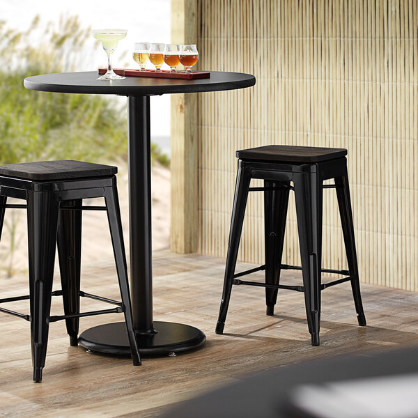 Lancaster Table & Seating Alloy Series Black Metal Indoor Industrial Cafe Counter Height Stool with Black Wood Seat Main Image 3
