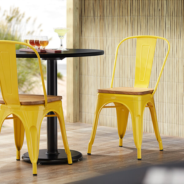 Lancaster Table & Seating Alloy Series Yellow Metal Indoor Industrial Cafe Chair with Vertical Slat Back and Natural Wood Seat Main Image 4