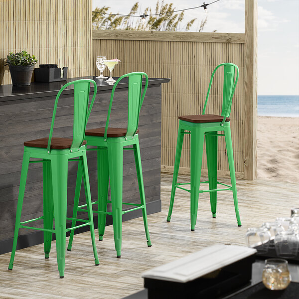 Lancaster Table & Seating Alloy Series Green Metal Indoor Industrial Cafe Bar Height Stool with Vertical Slat Back and Walnut Wood Seat Main Image 4