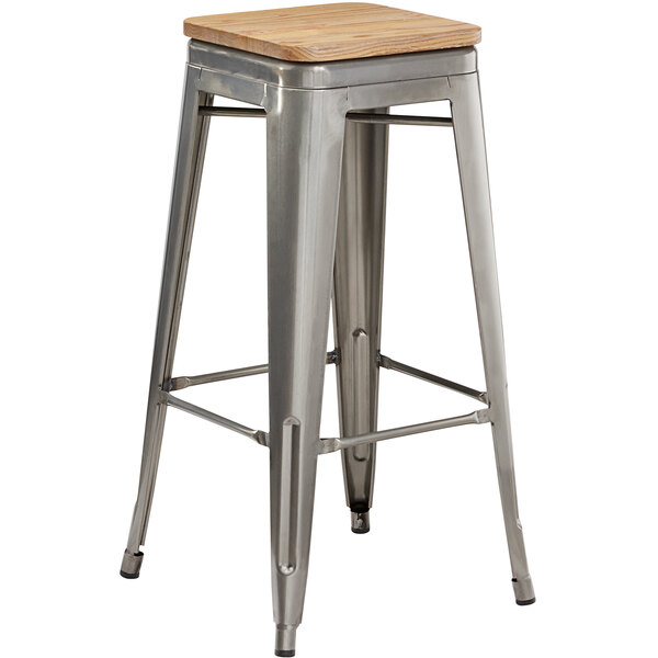 Lancaster Table & Seating Alloy Series Clear Coated Metal Indoor Industrial Cafe Bar Height Stool with Natural Wood Seat Main Image 1