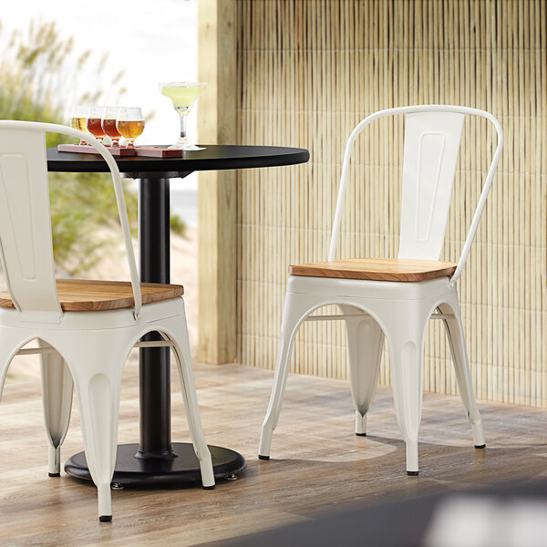 Lancaster Table & Seating Alloy Series White Metal Indoor Industrial Cafe Chair with Vertical Slat Back and Natural Wood Seat Main Image 4