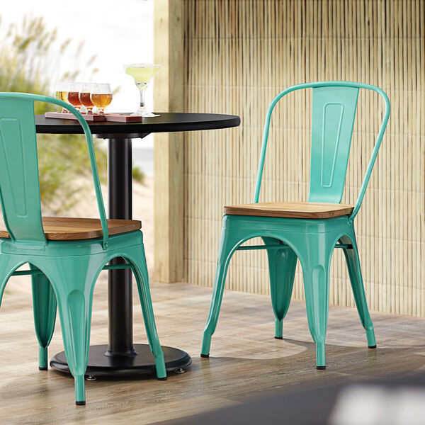 Lancaster Table & Seating Alloy Series Seafoam Metal Indoor Industrial Cafe Chair with Vertical Slat Back and Natural Wood Seat Main Image 4