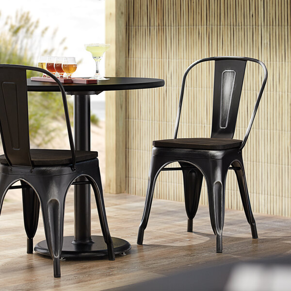 Lancaster Table & Seating Alloy Series Distressed Black Metal Indoor Industrial Cafe Chair with Vertical Slat Back and Black Wood Seat Main Image 4