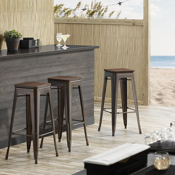Lancaster Table & Seating Alloy Series Copper Metal Indoor Industrial Cafe Bar Height Stool with Walnut Wood Seat Main Image 3