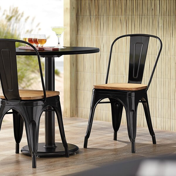 Lancaster Table & Seating Alloy Series Black Metal Indoor Industrial Cafe Chair with Vertical Slat Back and Natural Wood Seat Main Image 4