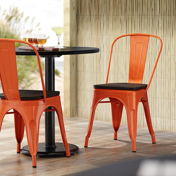 Lancaster Table & Seating Alloy Series Orange Metal Indoor Industrial Cafe Chair with Vertical Slat Back and Black Wood Seat Main Image 4