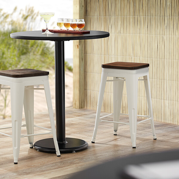 Lancaster Table & Seating Alloy Series White Metal Indoor Industrial Cafe Counter Height Stool with Walnut Wood Seat Main Image 3
