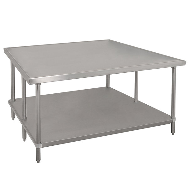 """Advance Tabco VLG-484 48"""" x 48"""" 14 Gauge Stainless Steel Work Table with Galvanized Undershelf"""