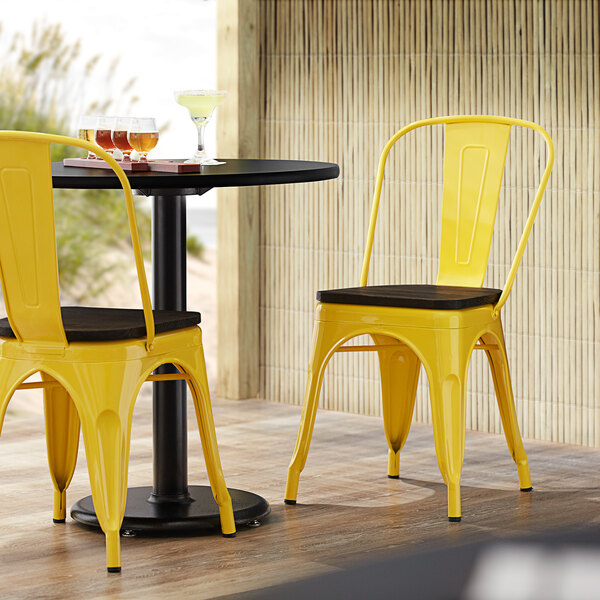 Lancaster Table & Seating Alloy Series Yellow Metal Indoor Industrial Cafe Chair with Vertical Slat Back and Black Wood Seat Main Image 4