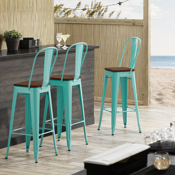 Lancaster Table & Seating Alloy Series Seafoam Metal Indoor Industrial Cafe Bar Height Stool with Vertical Slat Back and Walnut Wood Seat Main Image 4