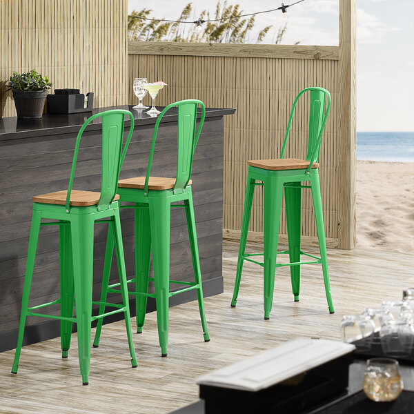 Lancaster Table & Seating Alloy Series Green Metal Indoor Industrial Cafe Bar Height Stool with Vertical Slat Back and Natural Wood Seat Main Image 4