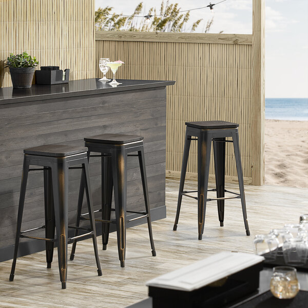 Lancaster Table & Seating Alloy Series Distressed Copper Metal Indoor Industrial Cafe Bar Height Stool with Black Wood Seat Main Image 3