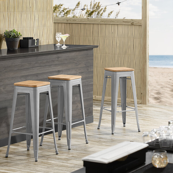 Lancaster Table & Seating Alloy Series Silver Metal Indoor Industrial Cafe Bar Height Stool with Natural Wood Seat Main Image 3