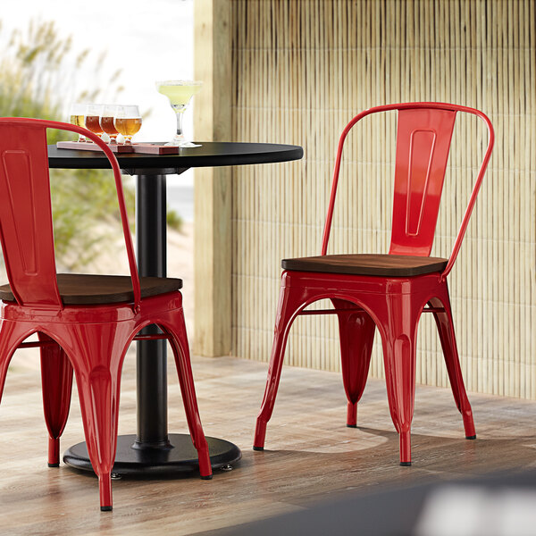 Lancaster Table & Seating Alloy Series Red Metal Indoor Industrial Cafe Chair with Vertical Slat Back and Walnut Wood Seat Main Image 4
