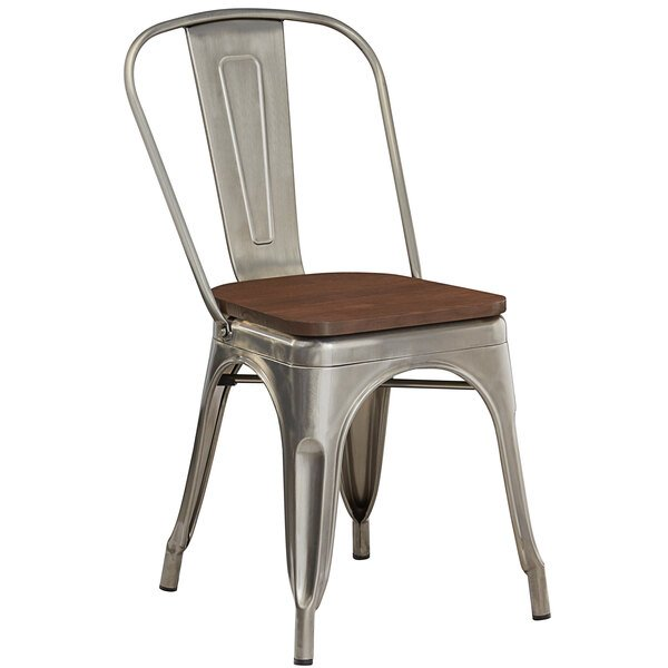 Lancaster Table & Seating Alloy Series Clear Coated Metal Indoor Industrial Cafe Chair with Vertical Slat Back and Walnut Wood Seat Main Image 1