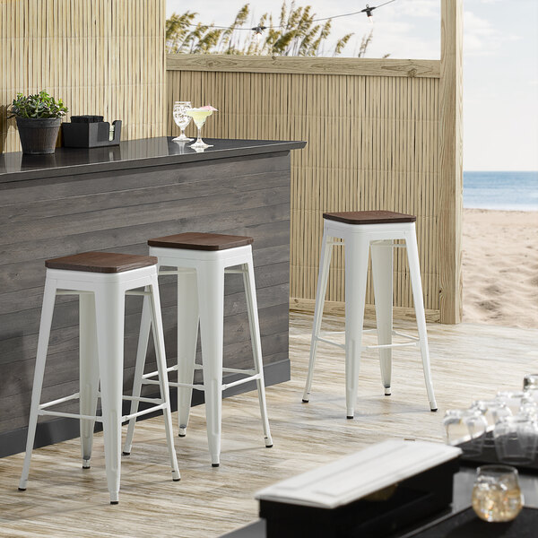 Lancaster Table & Seating Alloy Series White Metal Indoor Industrial Cafe Bar Height Stool with Walnut Wood Seat Main Image 3