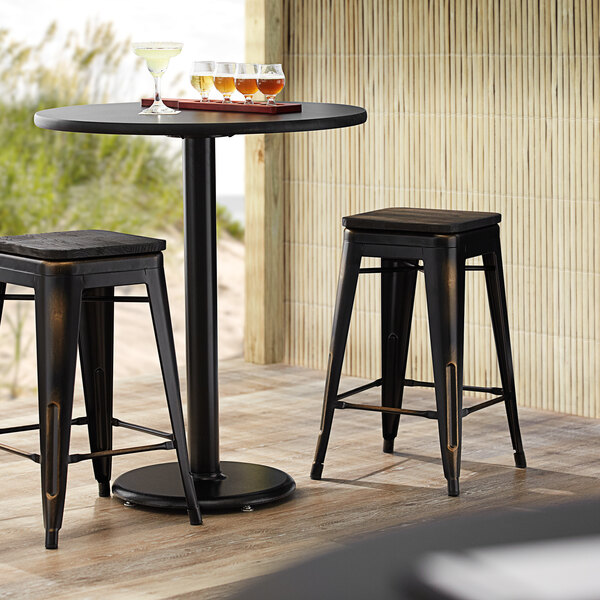Lancaster Table & Seating Alloy Series Distressed Copper Metal Indoor Industrial Cafe Counter Height Stool with Black Wood Seat Main Image 3