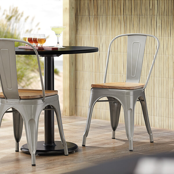 Lancaster Table & Seating Alloy Series Silver Metal Indoor Industrial Cafe Chair with Vertical Slat Back and Natural Wood Seat Main Image 4