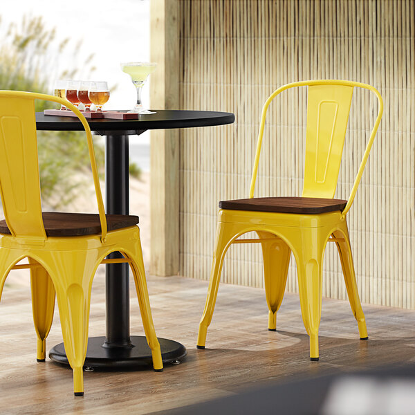 Lancaster Table & Seating Alloy Series Yellow Metal Indoor Industrial Cafe Chair with Vertical Slat Back and Walnut Wood Seat Main Image 4