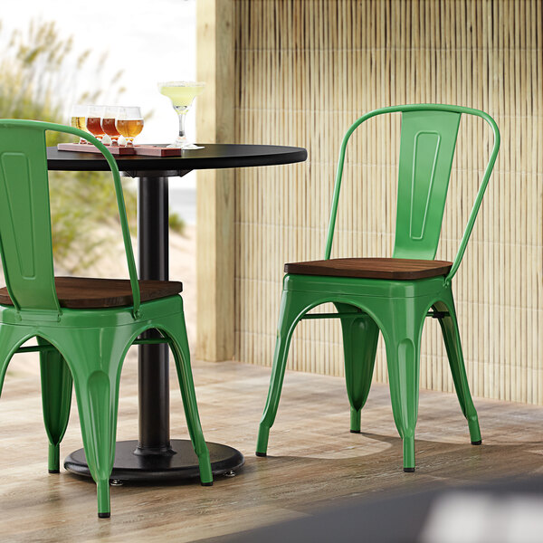 Lancaster Table & Seating Alloy Series Green Metal Indoor Industrial Cafe Chair with Vertical Slat Back and Walnut Wood Seat Main Image 4
