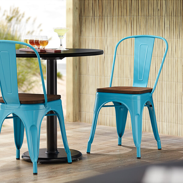 Lancaster Table & Seating Alloy Series Arctic Blue Metal Indoor Industrial Cafe Chair with Vertical Slat Back and Walnut Wood Seat Main Image 4